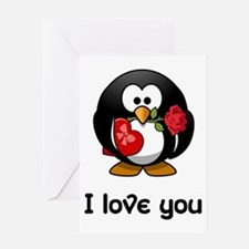 I Love You Penguin Greeting Cards