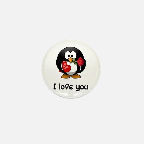 I Love You Penguin Mini Button