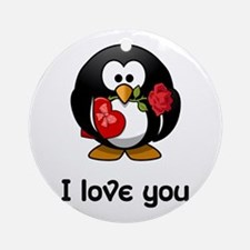 I Love You Penguin Ornament (Round)