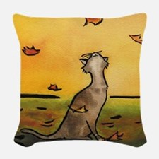 falling leaf cat.10x10.2.jpg Woven Throw Pillow