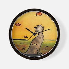 falling leaf cat.10x10.2.jpg Wall Clock
