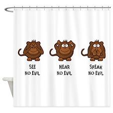Three Wise Monkeys Shower Curtain