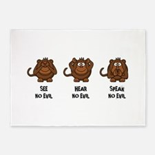 Three Wise Monkeys 5'x7'Area Rug