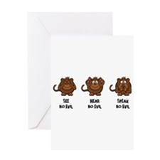 Three Wise Monkeys Greeting Cards