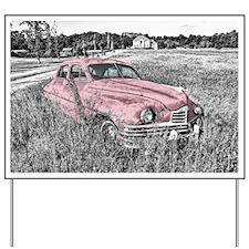 vintage pink car Yard Sign
