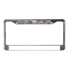 vintage pink car License Plate Frame