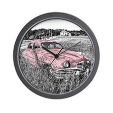 vintage pink car Wall Clock