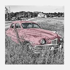 vintage pink car Tile Coaster