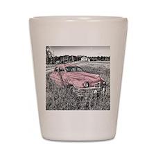 vintage pink car Shot Glass