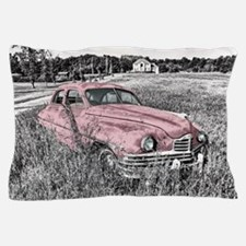 vintage pink car Pillow Case