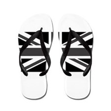 Union Jack - Black and White Flip Flops
