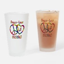 Peace Love Music Drinking Glass