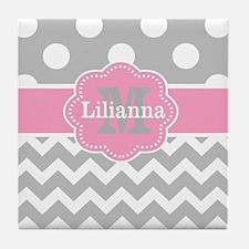 Gray Pink Chevron Dots Monogram Tile Coaster
