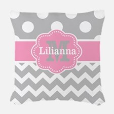 Gray Pink Chevron Dots Monogram Woven Throw Pillow