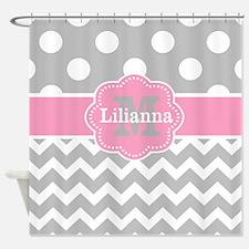 Gray Pink Chevron Dots Monogram Shower Curtain