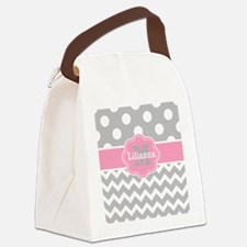 Gray Pink Chevron Dots Monogram Canvas Lunch Bag