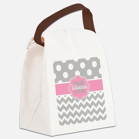 Gray Pink Chevron Dots Monogram Canvas Lunch Bag