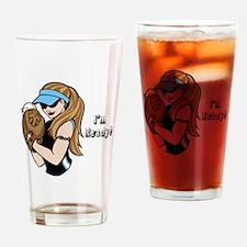 Softball Girl Drinking Glass
