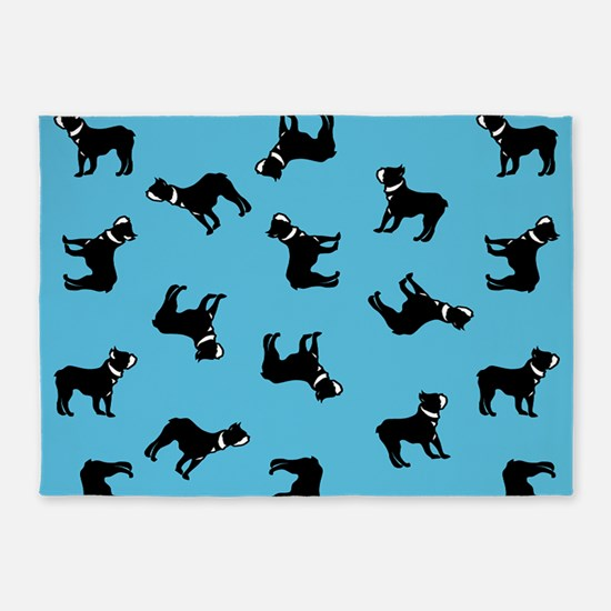 Boston Terriers on Blue 5'x7'Area Rug