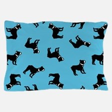 Boston Terriers on Blue Pillow Case