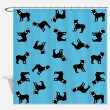 Boston Terriers on Blue Shower Curtain