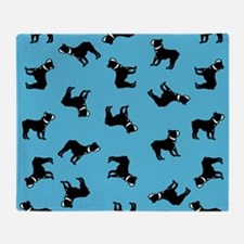 Boston Terriers on Blue Throw Blanket