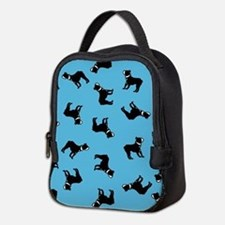Boston Terriers on Blue Neoprene Lunch Bag