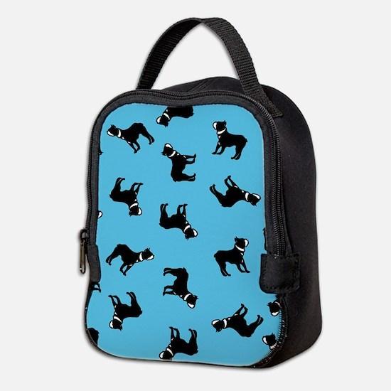 Boston Terriers on Blue Neoprene Lunch Bag