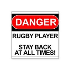 "Cute Rugby player Square Sticker 3"" x 3"""