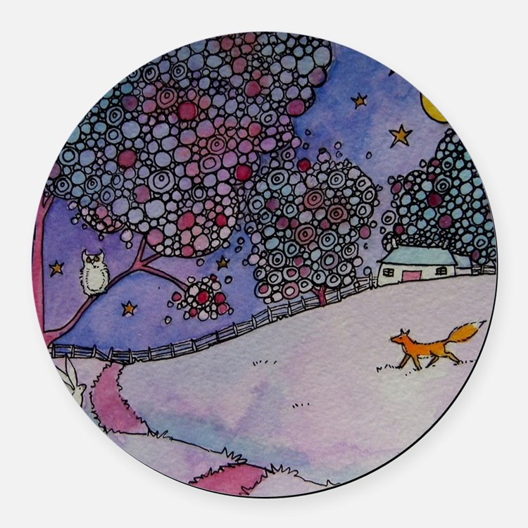 Wandering Fox Round Car Magnet