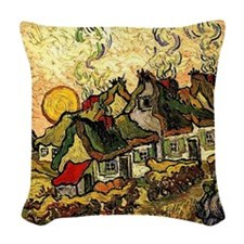 Van Gogh - Thatched Cottages i Woven Throw Pillow