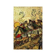 Van Gogh - Thatched Cottages in t Rectangle Magnet