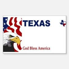 Texas - God Bless America blank plate des Decal