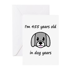 65 dog years 2 - 2 Greeting Cards