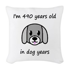 70 dog years 2 Woven Throw Pillow