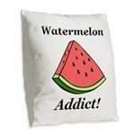 Watermelon Addict Burlap Throw Pillow