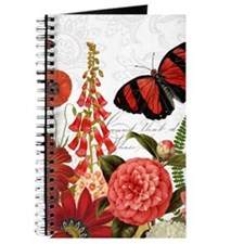 Modern vintage red flowers and butterfly Journal