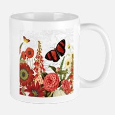 Modern vintage red flowers and butterfly Mugs