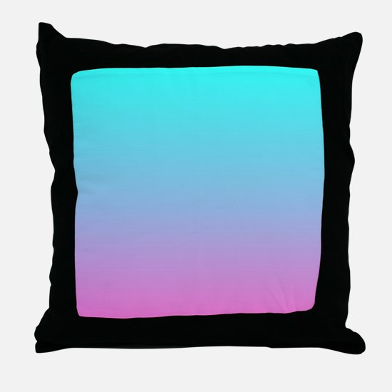 pink turquoise ombre Throw Pillow