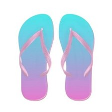 pink turquoise ombre Flip Flops