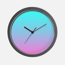 pink turquoise ombre Wall Clock