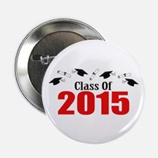 """Class Of 2015 (Red Caps And Diplomas) 2.25"""" Button"""