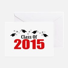 Class Of 2015 (Red Caps And Diplomas Greeting Card