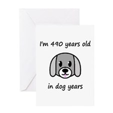 70 dog years 2 - 2 Greeting Cards