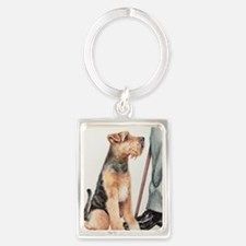 Welsh Terrier and his Man Portrait Keychain