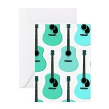 Blue Acoustic Guitars Pattern Greeting Card
