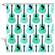 Blue Acoustic Guitars Pattern Shower Curtain
