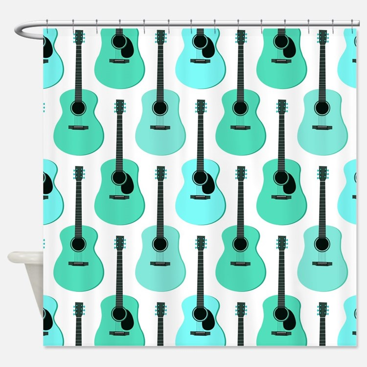 Blue Acoustic Guitars Pattern Shower Curtain