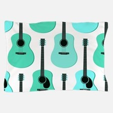 Blue Acoustic Guitars Pattern Pillow Case