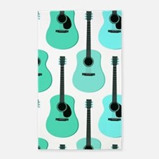 Blue Acoustic Guitars Pattern Area Rug